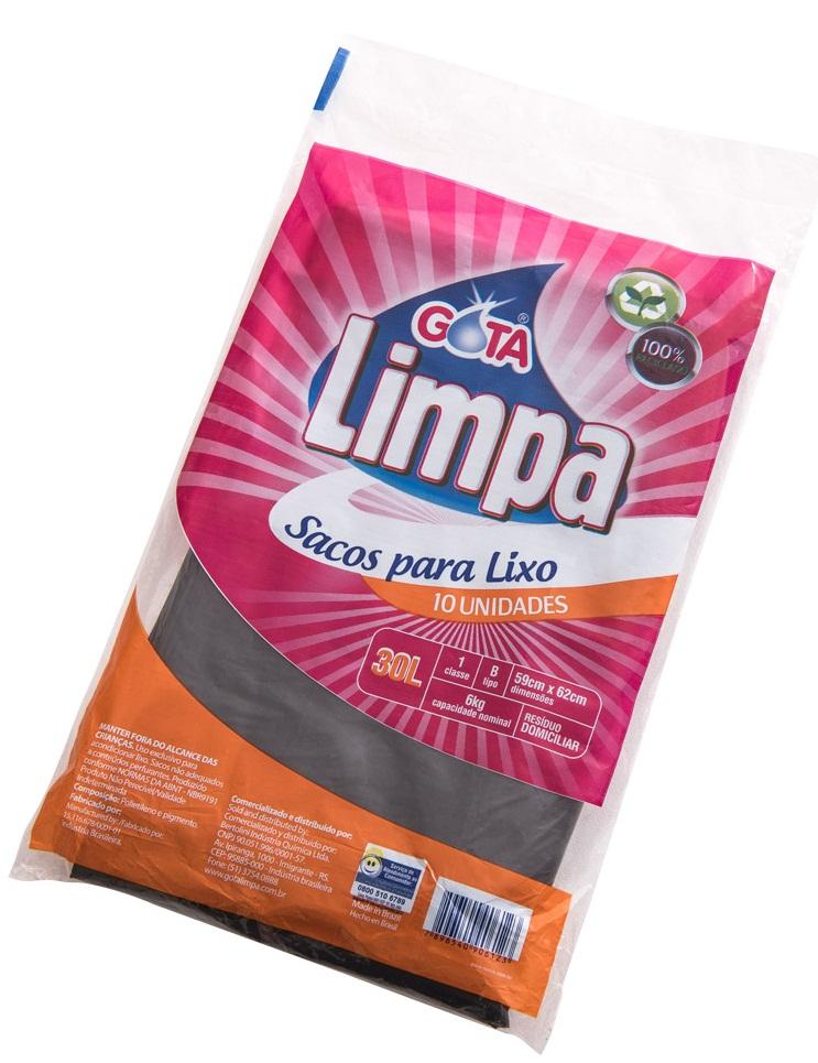 Saco para Lixo Gota Limpa Preto – 30L