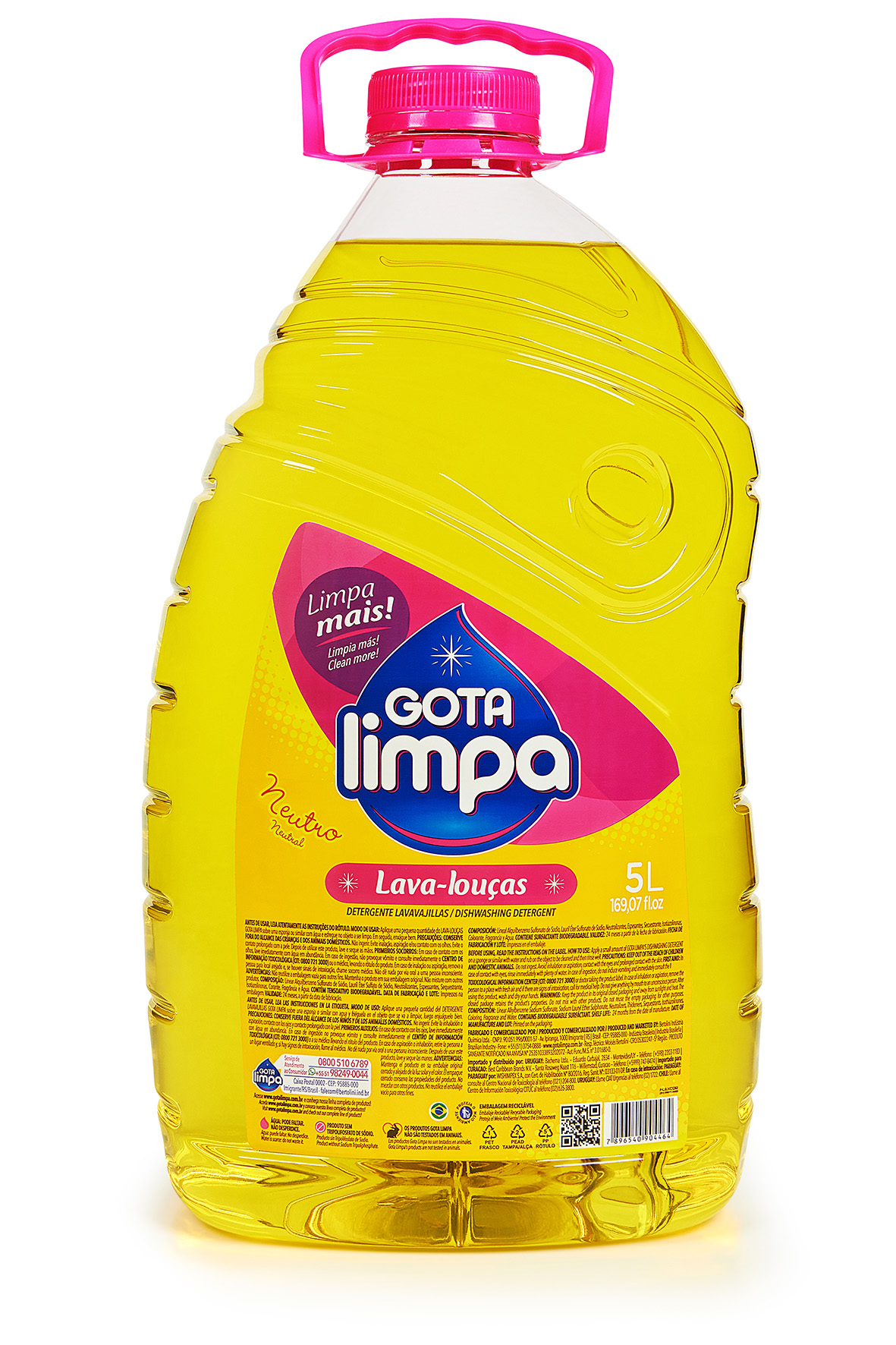 Gota Limpa Liquid Dishwashing Detergent Crystal Neutral 5L
