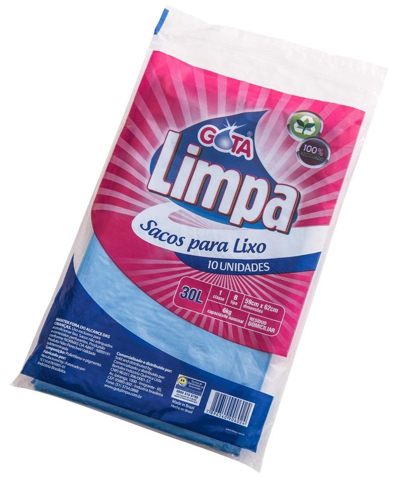 Saco para Lixo Gota Limpa Azul – 30L