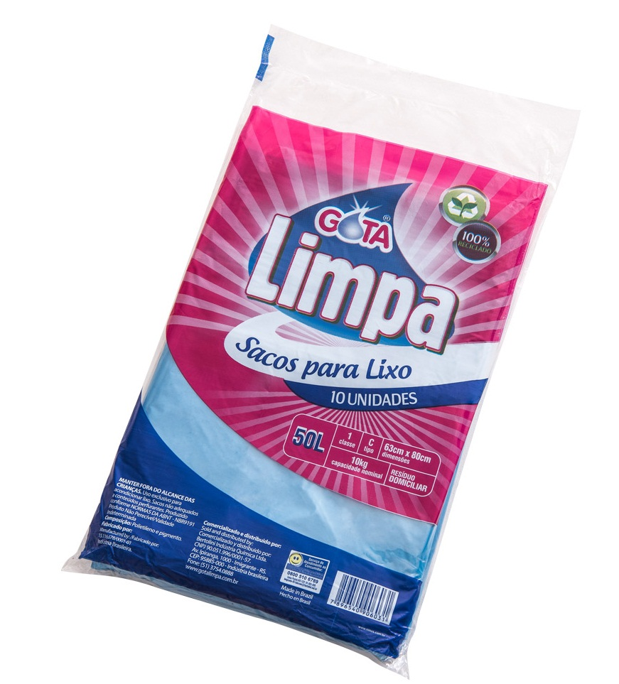 Saco para Lixo Gota Limpa Azul – 50L