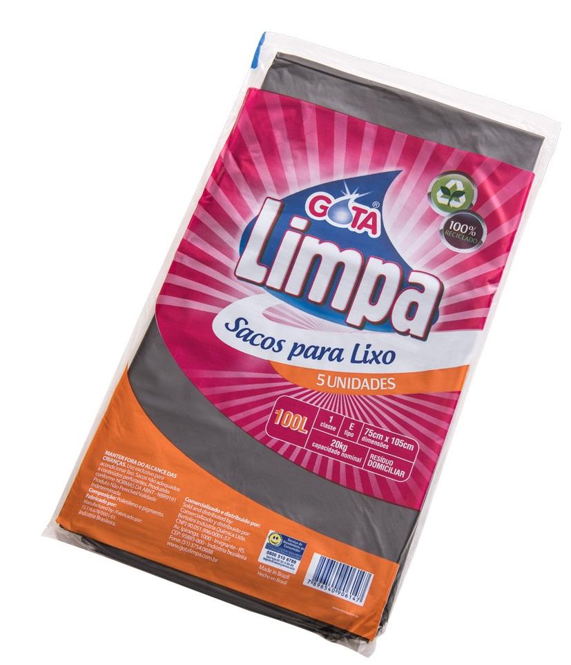 Saco para Lixo Gota Limpa Preto – 100L
